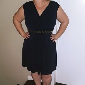 Navy blue dress w accented waist